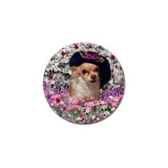 Chi Chi In Flowers, Chihuahua Puppy In Cute Hat Golf Ball Marker (4 Pack) by DianeClancy
