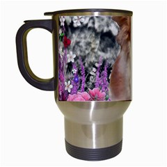 Chi Chi In Flowers, Chihuahua Puppy In Cute Hat Travel Mugs (white) by DianeClancy