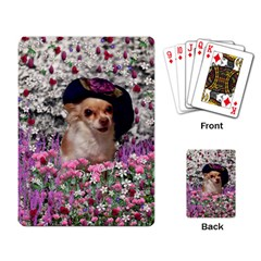 Chi Chi In Flowers, Chihuahua Puppy In Cute Hat Playing Card by DianeClancy
