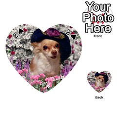 Chi Chi In Flowers, Chihuahua Puppy In Cute Hat Playing Cards 54 (heart)  by DianeClancy