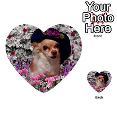 Chi Chi In Flowers, Chihuahua Puppy In Cute Hat Multi Purpose Cards (heart)  by DianeClancy