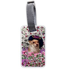 Chi Chi In Flowers, Chihuahua Puppy In Cute Hat Luggage Tags (one Side)  by DianeClancy