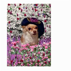 Chi Chi In Flowers, Chihuahua Puppy In Cute Hat Large Garden Flag (two Sides) by DianeClancy
