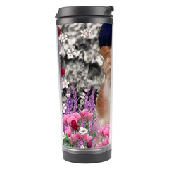 Chi Chi In Flowers, Chihuahua Puppy In Cute Hat Travel Tumbler by DianeClancy