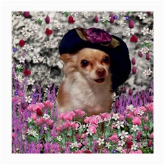 Chi Chi In Flowers, Chihuahua Puppy In Cute Hat Medium Glasses Cloth by DianeClancy