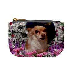 Chi Chi In Flowers, Chihuahua Puppy In Cute Hat Mini Coin Purses by DianeClancy