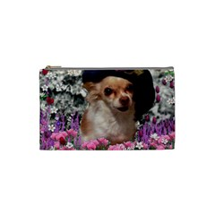 Chi Chi In Flowers, Chihuahua Puppy In Cute Hat Cosmetic Bag (small)  by DianeClancy