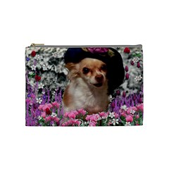 Chi Chi In Flowers, Chihuahua Puppy In Cute Hat Cosmetic Bag (medium)  by DianeClancy