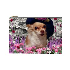Chi Chi In Flowers, Chihuahua Puppy In Cute Hat Cosmetic Bag (large)  by DianeClancy