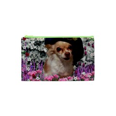 Chi Chi In Flowers, Chihuahua Puppy In Cute Hat Cosmetic Bag (xs) by DianeClancy