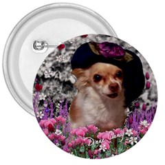 Chi Chi In Flowers, Chihuahua Puppy In Cute Hat 3  Buttons by DianeClancy