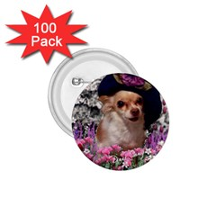 Chi Chi In Flowers, Chihuahua Puppy In Cute Hat 1 75  Buttons (100 Pack)  by DianeClancy