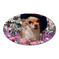 Chi Chi In Flowers, Chihuahua Puppy In Cute Hat Oval Magnet by DianeClancy