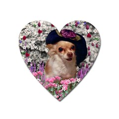 Chi Chi In Flowers, Chihuahua Puppy In Cute Hat Heart Magnet by DianeClancy