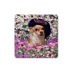 Chi Chi In Flowers, Chihuahua Puppy In Cute Hat Square Magnet by DianeClancy