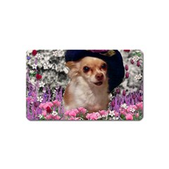Chi Chi In Flowers, Chihuahua Puppy In Cute Hat Magnet (name Card) by DianeClancy