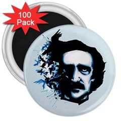 Edgar Allan Poe Crows 3  Magnets (100 Pack) by lvbart