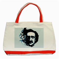 Edgar Allan Poe Crows Classic Tote Bag (red) by lvbart
