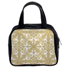 Golden Floral Boho Chic Classic Handbags (2 Sides) by dflcprints