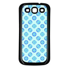 Pastel Turquoise Blue Retro Circles Samsung Galaxy S3 Back Case (black) by BrightVibesDesign