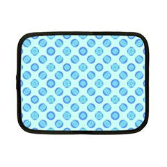 Pastel Turquoise Blue Retro Circles Netbook Case (small)  by BrightVibesDesign