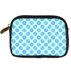 Pastel Turquoise Blue Retro Circles Digital Camera Cases by BrightVibesDesign