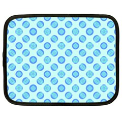 Pastel Turquoise Blue Retro Circles Netbook Case (xxl)  by BrightVibesDesign