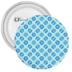 Pastel Turquoise Blue Retro Circles 3  Buttons by BrightVibesDesign