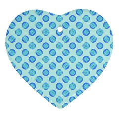 Pastel Turquoise Blue Retro Circles Ornament (heart)  by BrightVibesDesign