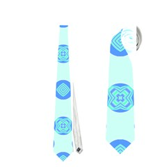 Pastel Turquoise Blue Retro Circles Neckties (one Side)  by BrightVibesDesign
