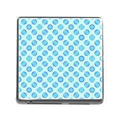 Pastel Turquoise Blue Retro Circles Memory Card Reader (square) by BrightVibesDesign