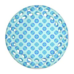 Pastel Turquoise Blue Retro Circles Round Filigree Ornament (2side) by BrightVibesDesign