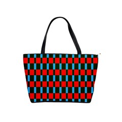Black Red Rectangles Pattern                                                          Classic Shoulder Handbag by LalyLauraFLM