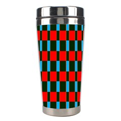 Black Red Rectangles Pattern                                                          Stainless Steel Travel Tumbler by LalyLauraFLM