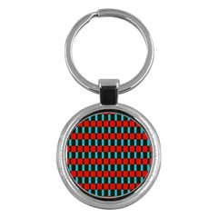 Black Red Rectangles Pattern                                                          			key Chain (round) by LalyLauraFLM