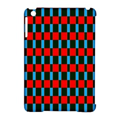 Black Red Rectangles Pattern                                                          			apple Ipad Mini Hardshell Case (compatible With Smart Cover) by LalyLauraFLM