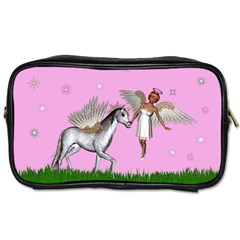 Unicorn And Fairy In A Grass Field And Sparkles Travel Toiletry Bag (two Sides) by goldenjackal
