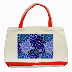 Azurite Blue Flowers Classic Tote Bag (red) by KirstenStar