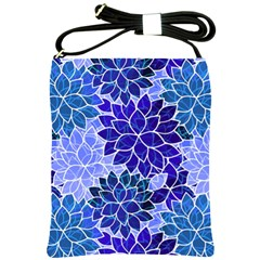 Azurite Blue Flowers Shoulder Sling Bags by KirstenStar