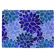 Azurite Blue Flowers Cosmetic Bag (xxl)  by KirstenStar