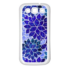 Azurite Blue Flowers Samsung Galaxy S3 Back Case (white) by KirstenStar