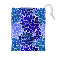 Azurite Blue Flowers Drawstring Pouches (extra Large) by KirstenStar
