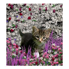Emma In Flowers I, Little Gray Tabby Kitty Cat Shower Curtain 66  X 72  (large)  by DianeClancy