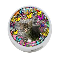 Emma In Butterflies I, Gray Tabby Kitten 4 Port Usb Hub (one Side) by DianeClancy