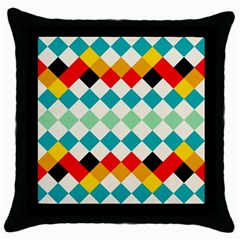 Rhombus Pattern                                                              			throw Pillow Case (black) by LalyLauraFLM