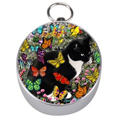 Freckles In Butterflies I, Black White Tux Cat Silver Compasses by DianeClancy