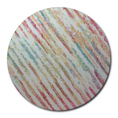 Diagonal Stripes Painting                                                               			round Mousepad by LalyLauraFLM