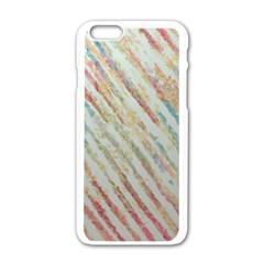 Diagonal Stripes Painting                                                               			apple Iphone 6/6s White Enamel Case by LalyLauraFLM