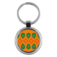 Rhombus And Leaves                                                                			key Chain (round) by LalyLauraFLM