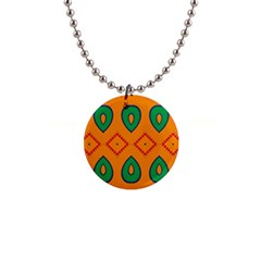 Rhombus And Leaves                                                                			1  Button Necklace by LalyLauraFLM